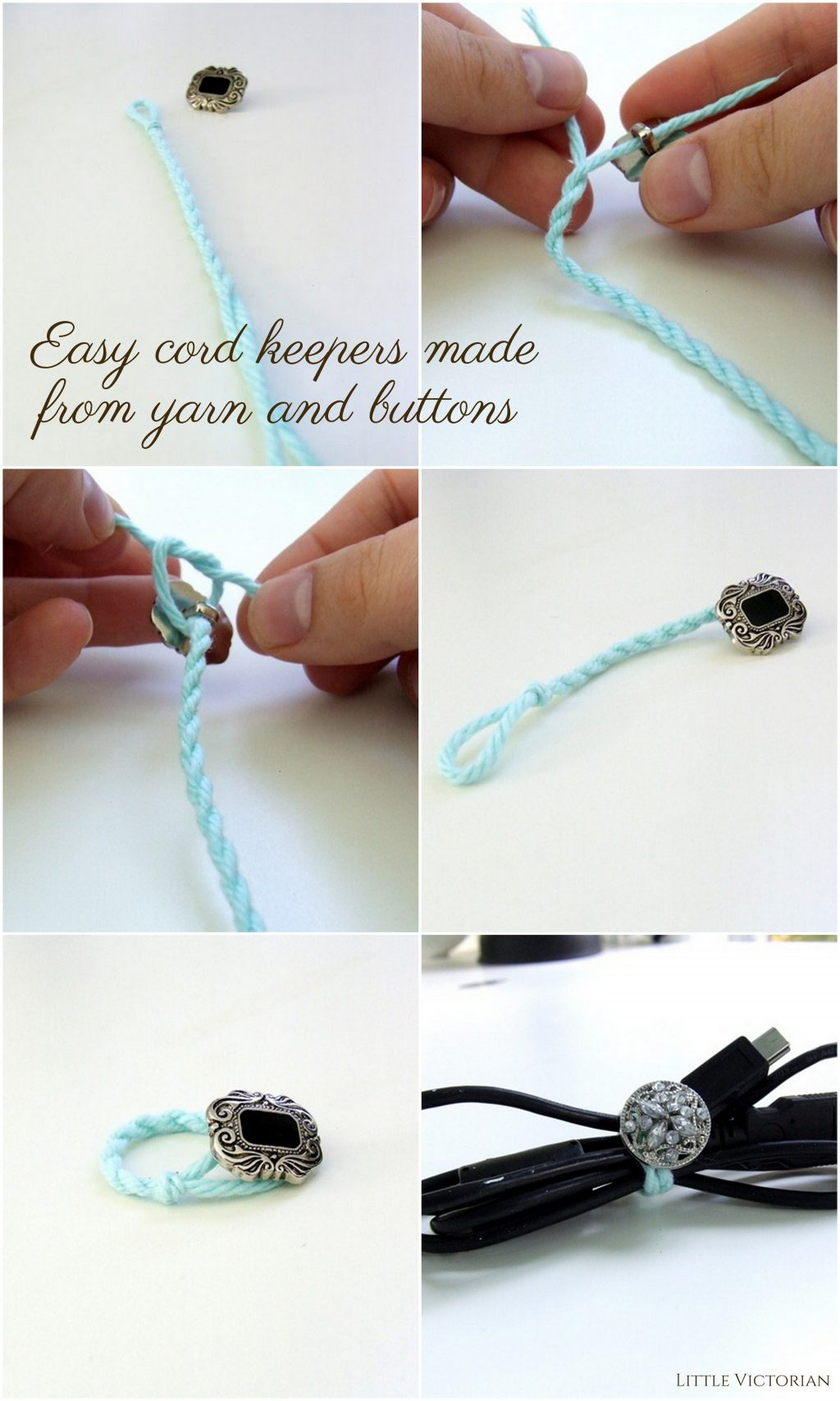 DIY cord keepers from yarn and buttons