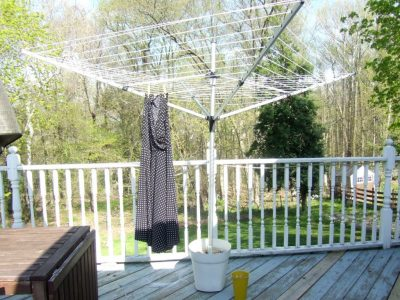 Clothesline stand from an old pot
