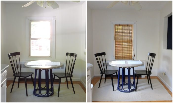 Bamboo blinds before and after