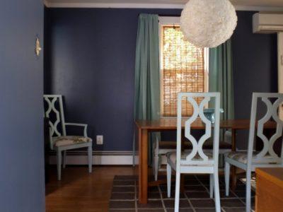 A new, dark dining room