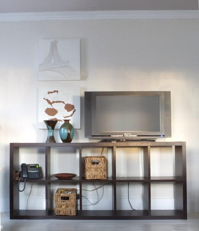 Bookshelf as media cabinet