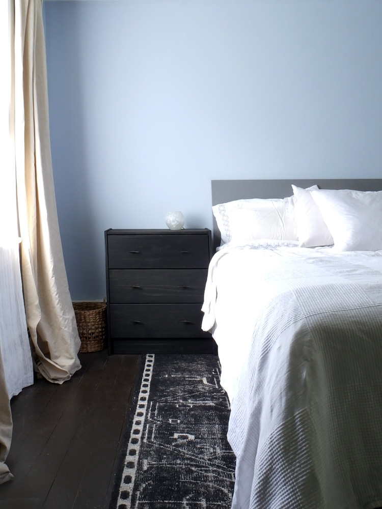 diy headboard and ikea rast nightstand