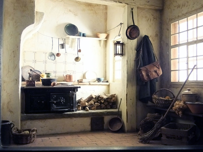 Old white cottage kitchen in miniature